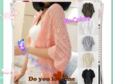 [Hot Sale] Women Crochet Knit Shawl Batwing sleeve Hollow Out Shrug Cardigan Top sweater