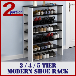 SHOE RACK / AVAIL IN 3 4 5 TIER / IN BLACK WHITE WOODEN DESIGNED / UP TO 100KG SUPPORT / SELF INSTAL