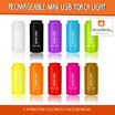 Rechargeable Mini USB Torch Light 7 Attractive Colors to Choose from!