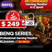 BenQ RL2455HM Professional Gaming Monitor / 1ms GTG / 24 Inch Black eQualizer / RTS Mode / Display Mode / Smart Scaling / HDMI / 12:1 Dynamic Contrast Ratio. Most RECOMMENDED Gaming Monitor in E Sport