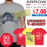 [ARROW BLUE JEANS CO. SG50 UNISEX T-SHIRT] Designed Exclusively for Singapore 50th Anniversary SG50! 100% cotton/7 designs - S to XL!!