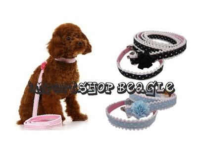 【メール便送料無料】エレガントローズ豪華なバラ付きリードと首輪セット小型犬用【Sサイズ】【リードセット・犬用品・ペットグッズ・DOG】【smtb-MS】の画像