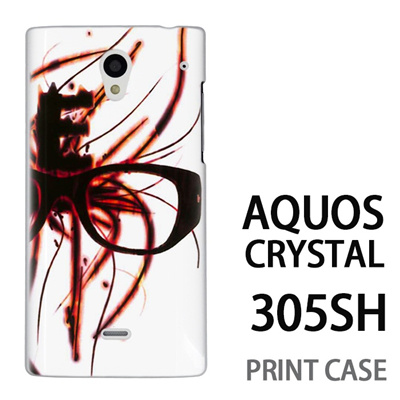 AQUOS CRYSTAL 305SH 用『No1 E 燃えるメガネ』特殊印刷ケース【 aquos crystal 305sh アクオス クリスタル アクオスクリスタル softbank ケース プリント カバー スマホケース スマホカバー 】の画像