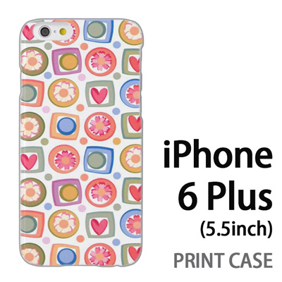 iPhone6 Plus (5.5インチ) 用『0615 花Xハート』特殊印刷ケース【 iphone6 plus iphone アイフォン アイフォン6 プラス au docomo softbank Apple ケース プリント カバー スマホケース スマホカバー 】の画像
