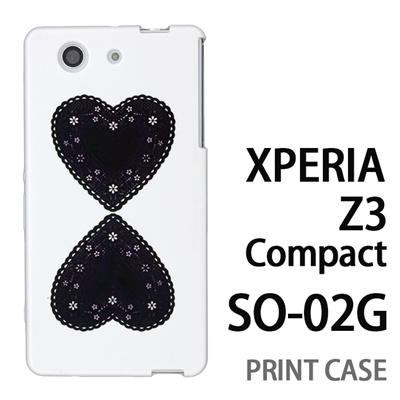 XPERIA Z3 Compact SO-02G 用『0825 黒ハート』特殊印刷ケース【 xperia z3 compact so-02g so02g SO02G xperiaz3 エクスペリア エクスペリアz3 コンパクト docomo ケース プリント カバー スマホケース スマホカバー】の画像