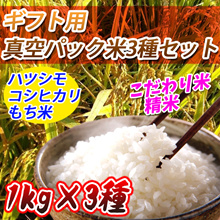 ギフト用 真空パック米3種セット(1kg×3種)(ハツシモ、コシヒカリ、もち米(たかやまもち))