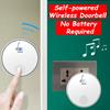 Door bell NO NEED BATTERY!Smart Self-Charge Home Doorbell/Portable Wireless Remote Control Doorbell/No Need Install Door Alarm Bell
