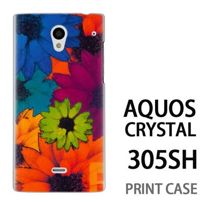 AQUOS CRYSTAL 305SH 用『No1 F フラワー』特殊印刷ケース【 aquos crystal 305sh アクオス クリスタル アクオスクリスタル softbank ケース プリント カバー スマホケース スマホカバー 】の画像