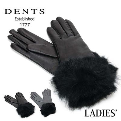 デンツ DENTS レディース グローブ 女性用手袋 レザー×袖口ラビットファー 7-2388の画像