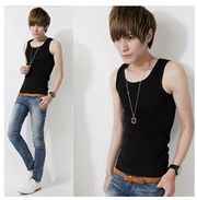 Tight stretch vest large size mens casual sports and fitness bottoming Slim undershirt