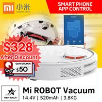 Xiaomi Mi Robot Vacuum Cleaner ★ 1800 Pa ★ 5200 mAh Li-ion battery ★ 2.5 hours of charging ★