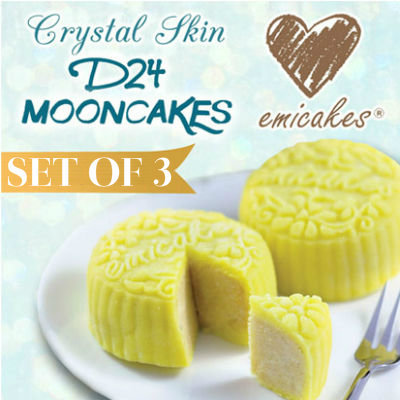 Emicakes' Signature Crystal Skin D24 Durian Mooncakes | Buy 1 Large Durian Mooncake Get 2 Mini FREE Deals for only S$29.8 instead of S$0