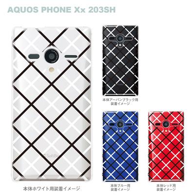 【AQUOS PHONEケース】【203SH】【Soft Bank】【カバー】【スマホケース】【クリアケース】【チェック・ボーダー・ドット】【チェック柄B】 08-203sh-ca0097aの画像