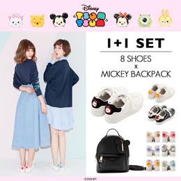 ♥1+1 Special Sale♥Gracegift-Disney TsumTsum Sneakers Shoes+Mickey Minnie Satchel Bags/Backpack Set