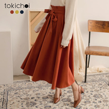 TOKICHOI - Bow Tie-up Multi-color Zipper Skirt-182108-Winter
