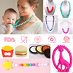 Teething Necklace/ Pacifier Clip/ Teether/ Help Baby Focus when Nursing/ Chewable FoodGrade Silicone