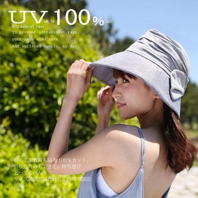 リネンリボンエアリーハット帽子レディース紫外線100%カット女性用帽子ベージュネイビーブラウン