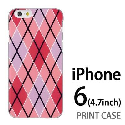 iPhone6 (4.7インチ) 用『0908 菱形チェック ピンク』特殊印刷ケース【 iphone6 iphone アイフォン アイフォン6 au docomo softbank Apple ケース プリント カバー スマホケース スマホカバー 】の画像