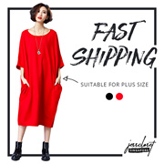 JESSCLOSET - Plus Size Cotton Loose Fit O-Neck Tee Dress (2 colors) #7775 - New Arrival
