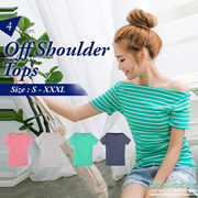 OB CLUB ★ OBDESIGN ★ ORANGEBEAR ★  STRIPED OFF SHOULDER TOPS ★ S-XXXXL SIZE ★ PLUS SIZE ★ VARIOUS COLOR ★ OFFICE ★ TRAVEL ★ WEEKEND ★ HOLIDAY ★ WORK ★ CASUAL ★ OL ★ COMFY ★