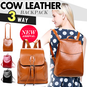 GENUINE! Cow Leather Backpack / Tote School Bag /Satchel /  Messenger Shoulder Bag Hand Bag/ Chic Fashion Casual / Large Capacity【M18】