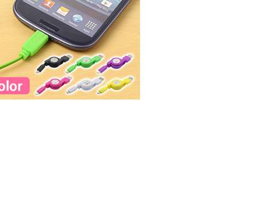 microUSB USB マイクロUSB 巻き取り ケーブル データ 転送 充電 コードリール 72cm ワンタッチ 延長 カラフル RC-USM02-07 [ゆうメール配送][送料無料]の画像