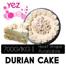 [Yez Cake] Premium Durian Cake 700g OR 1KG - Round / Heart Shape (Self Collection Or Qx Delivery)