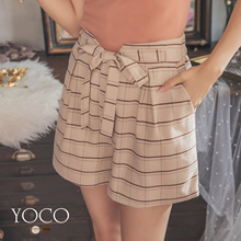 YOCO - Trendy Tie-up Bow Stripe Shorts-182227-Winter