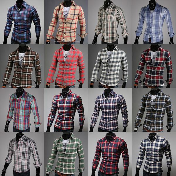 韓国?メンズシャツ長袖カジュアルタータンチェックスタイリッシュなシャツメンズシャツファンフランネル男性タータンチェックのシャツ新しい高級スリムブランドフォーマルビジネスフ
