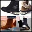 [Sura] すっきりクールなブラックカラーに真鍮やストーンジュエリーでポイント付けたおしゃれなトレンドブーツ★ heel point / jewelry pearl walker