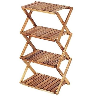 キャプテンスタッグ(CAPTAINSTAG)CSクラシックス木製4段ラック<460>UP-2505折りたたみ木製ラック【キャンプインテリアウッドテーブルアウトドア北欧風】