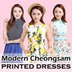 [SUNDAY NIGHT NO BLUES]In-house Premium Dresses Modern cheongsam Qipao Printed Dresses Cotton Dresses Office Dress Mother Daughter Matching Dress Kids Dress Girl Dress