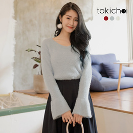 TOKICHOI - Fluffy Trumpet Sleeves Sweater-172938-Winter
