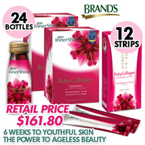 [QOO10 EXCLUSIVE] BRANDS® InnerShine® RubyCollagen Pack - 24 bottles + 12 Strips (Power to ageless beauty)