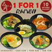 Shinagawa Ramen and Izakaya - 1 For 1 RAMEN Lunch and Dinner - 10 Choices are Available.