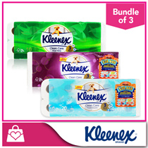 [1+1+1] [NEW IMPROVED!]  Kleenex Clean Care Bathroom Ultra Soft 3Ply-Aloe Vera/Fresh Scent/Green Tea