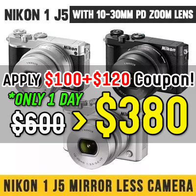 [Nikon] Nikon 1 J5 Mirror less digital camera with 10-30mm / camera/digital / nikon Deals for only S$780 instead of S$0