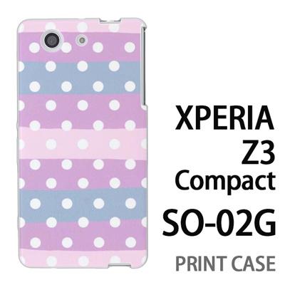 XPERIA Z3 Compact SO-02G 用『0901 斜めドット ボーダー薄紫水ピンク』特殊印刷ケース【 xperia z3 compact so-02g so02g SO02G xperiaz3 エクスペリア エクスペリアz3 コンパクト docomo ケース プリント カバー スマホケース スマホカバー】の画像