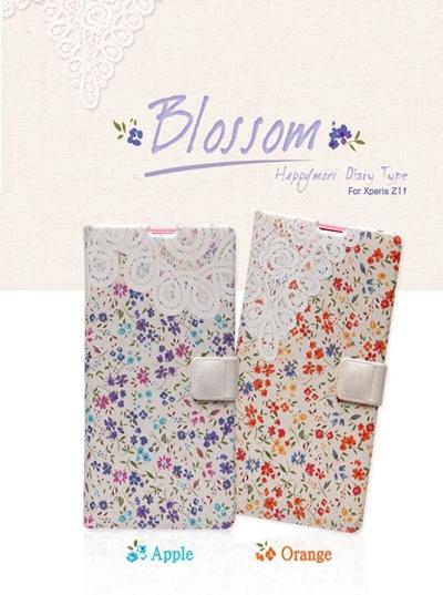 docomo【Xperia A2/Xperia Z1f】Happymori Blossom Diary(ハッピーモリ ブロッサムダイアリー) [カードポケット、ストラップホール付き]手帳型の画像