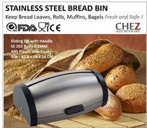 New 2016 CHEZ Stainless Steel Bread Bin in Brushed Finish for Baked Goods Loaves Rolls Muffins Bagels Pastries Multi-Functional Food Kitchen Storage Box Bread Box *New Arrival*