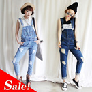 new jeans / loose / women / all-match Denim Bib / female trousers / frayed hole / Siamese trousers /  XX89