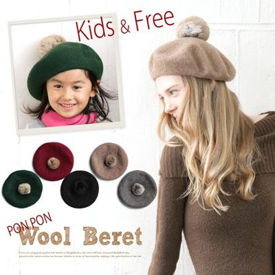【日本製】ポンポン付きウールベレー帽 レディース フリーサイズ レディース 帽子 ぼうし ベーシックフォルム 定番カラー 婦人用 女性用 レディース wb128の画像