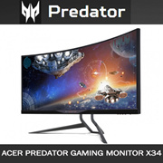 ACER Predator X34 Curved IPS NVIDIA G-sync Gaming Monitor 21:9 WQHD Display w Built-in Overclocking 100Hz Refresh Rate Boost 3 Years On-Site Warranty.