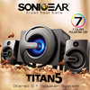 Restocked Best Seller TITAN 5 Stereo 2.1 Speaker [FREE Delivery]. Super Bass w 7 Colors Pulsating LED | Wooden Sub Woofer Satellite / Aux In. Output  Power 40 Watt Local 12 Months Warranty!