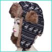 【国内発送】ニット フェイクファー 耳まで隠せる 耳あて付 防寒防風 もこもこ帽子ハットキャップ レディース メンズ ユニセックス ロシア軍 ドイツ軍 パイロット 飛行帽 スキー ブラック