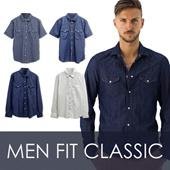 NEW!Branded Men Fit Classic Denim Shirt_Casual Shirt Lengan pendek dan Lengan panjang_Premium Quality / kemeja pria kemeja denim pria baju pria