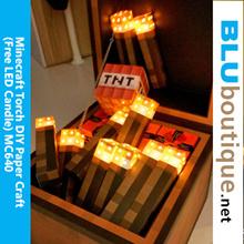 Minecraft Torch DIY Paper Craft (with flickering LED candle) Minecraft Birthday Mooncake Lantern kid
