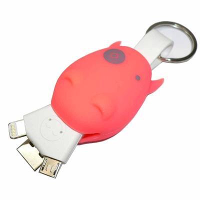 【送料無料】iPadAir/iPhone5siOS7.1.1対応!【USB-8LTMOR】データ転送・充電両用ケーブル15cm特長:牛カバーがコネクターを保護し、キーチェーン付きで、携帯に便利!