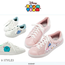 ♥New Arrival♥Gracegift-Disney TsumTsum Side Embroidered Lace Up Sneakers/Women Shoes