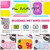 NEW Bitatto POP】★ Wet Wipes Cover ★ Baby Wet Wipes Cover ★ Made in Japan ★ Re-Usable ★ Washable To Regain The Adhesive